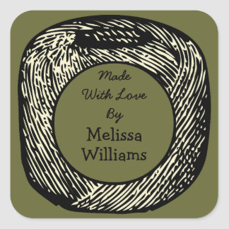 Made With Love Olive Green Black Ball of Yarn v2 Square Sticker