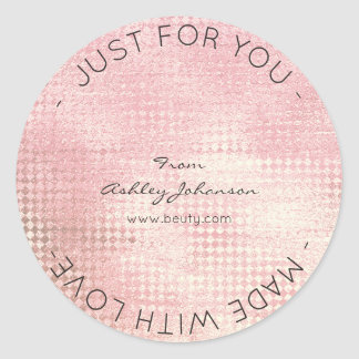 Made With Love Peach Rose Gold Blush Metallic Classic Round Sticker
