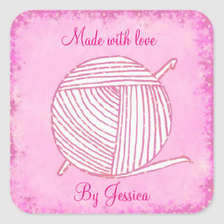 Made with love personalised crochet square sticker