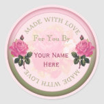 Made with Love Personalised Seals, Stickers Roses