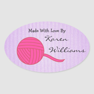 Made With Love Pink Ball of Yarn Lavender Knit Oval Sticker