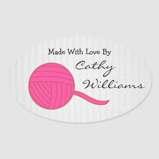 Made With Love Pink Ball of Yarn White Knit Oval Sticker