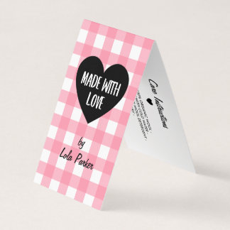 Made with Love Pink Gingham Hang Tag
