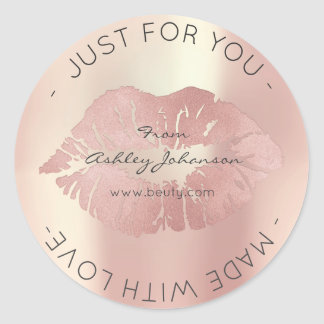 Made With Love Pink Rose Gold Makeup Lips Kiss Classic Round Sticker