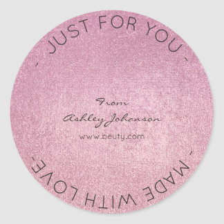 Made With Love Pink Rose Minimal Metallic Delicate Round Sticker