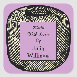Made With Love Purple Black and White Ball of Yarn Square Sticker