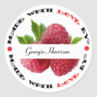 Made with Love Raspberry Classic Round Sticker