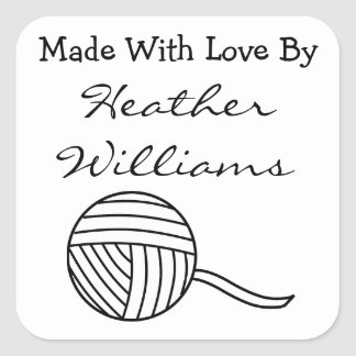 Made With Love Round Black and White Ball of Yarn Square Sticker