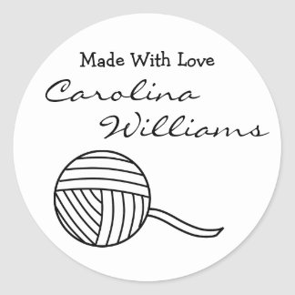 Made With Love Round Black White Ball of Yarn v2 Round Sticker