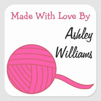Made With Love Round Pink Ball of Yarn and White Square Sticker