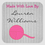 Made With Love Round Pink Ball of Yarn Grey Knit Square Sticker
