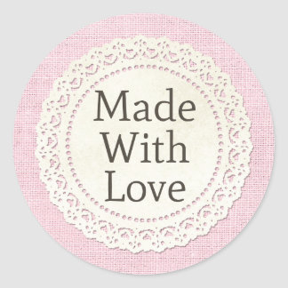 Made With Love Rustic Country Lace Doily on Burlap Classic Round Sticker