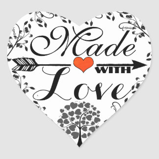 Made with Love tree & foliage design heart sticker
