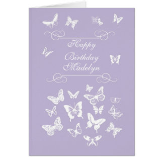 Madelyn Butterflies Happy Birthday Irish Blessing Card