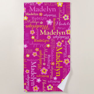 Madelyn flowers name beach towel
