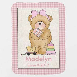 Madelyn's Personalized Baby Bear Blanket Swaddle Blankets
