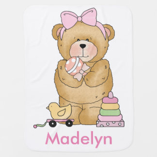 Madelyn's Teddy Bear Personalized Gifts Baby Blanket