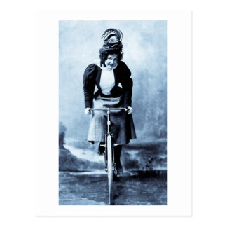 Madge Lessing on Bike - Vintage 1902 - CYan Post Cards