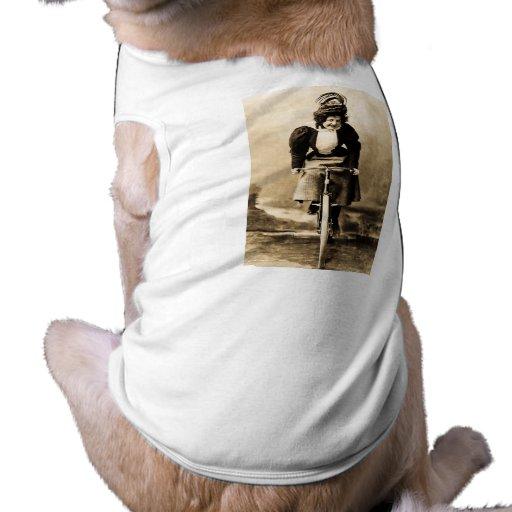 Madge Lessing on Bike Vintage 1902 Pet T Shirt