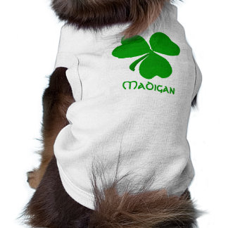 Madigan Irish Shamrock Name Sleeveless Dog Shirt