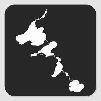 Madison Area Lakes Outline B&W Square Sticker
