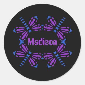 Madison, dragonflies in blue & purple on black round sticker
