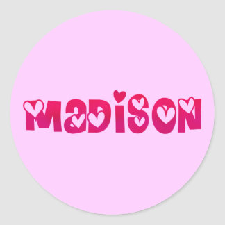 Madison in Hearts Classic Round Sticker