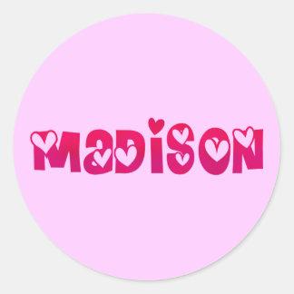 Madison in Hearts Round Sticker