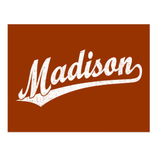 Madison script logo in white distressed postcard