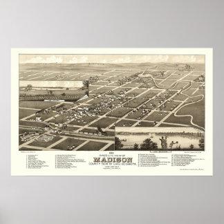 Madison, SD Panoramic Map - 1883 Poster