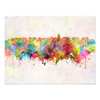 Madison skyline in watercolor background photograph