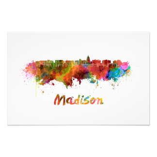 Madison skyline in watercolor art photo