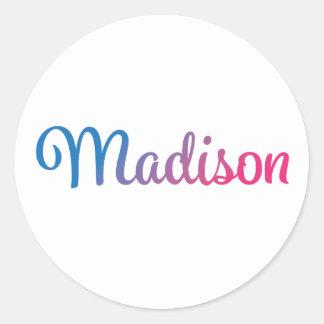 Madison Stylish Cursive Classic Round Sticker