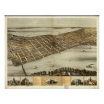 Madison WI 1867 Antique Panoramic Map Poster