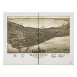 Madison WI 1885 Antique Panoramic Map Poster