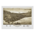 Madison, WI Panoramic Map - 1885b Poster