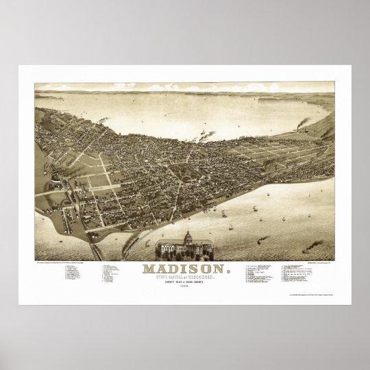Madison, WI Panoramic Map - 1885b Poster