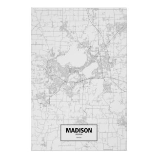 Madison, Wisconsin (black on white) Poster