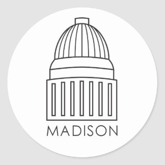 Madison Wisconsin Capitol Building Round Sticker