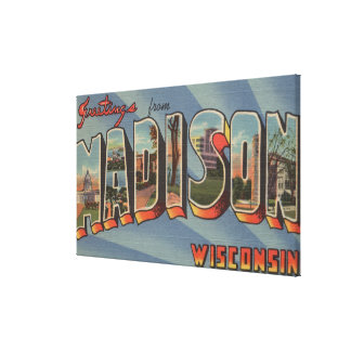 Madison, Wisconsin - Large Letter Scenes Canvas Print