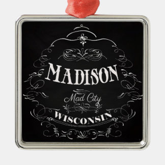 Madison, Wisconsin - Mad City Silver-Colored Square Decoration