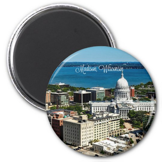 Madison, Wisconsin skyline 6 Cm Round Magnet