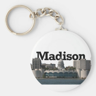 Madison Wisconsin Skyline with Madison in the Sky Key Ring
