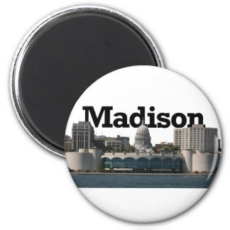 Madison Wisconsin Skyline with Madison in the Sky 6 Cm Round Magnet