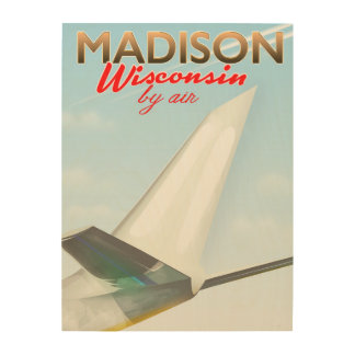 Madison Wisconsin USA Vintage flight poster Wood Prints