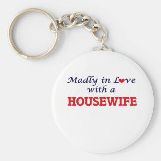 Madly in love with a Housewife Basic Round Button Key Ring