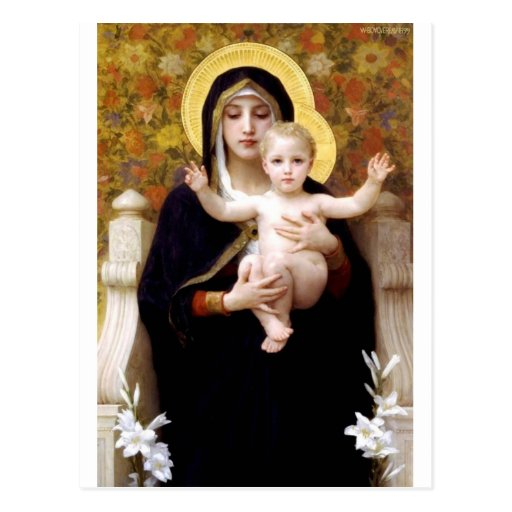 Madona with lilies Bouguereau antique painting Postcards