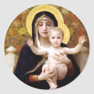 Madona with lilies Bouguereau antique painting Round Sticker