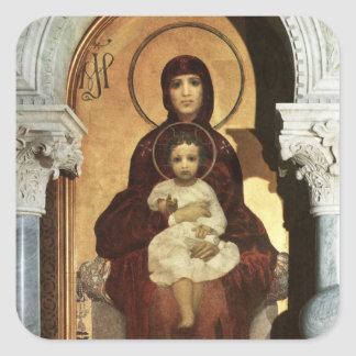 Madonna and Baby Jesus on Throne Square Sticker