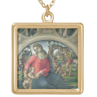 Madonna and Child, 1490-95 (oil on panel) Gold Plated Necklace